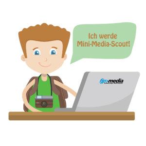 """Ein Junge sitzt am Laptop und hat eine Kamera um den Hals. Er sagt: """"Ich werde Mini-Media-Scout!"""". Das Bild ist gezeichnet."""